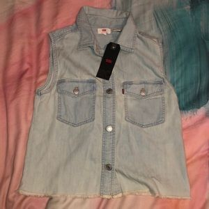 Levi's deni button down fringe vest shirt Xs